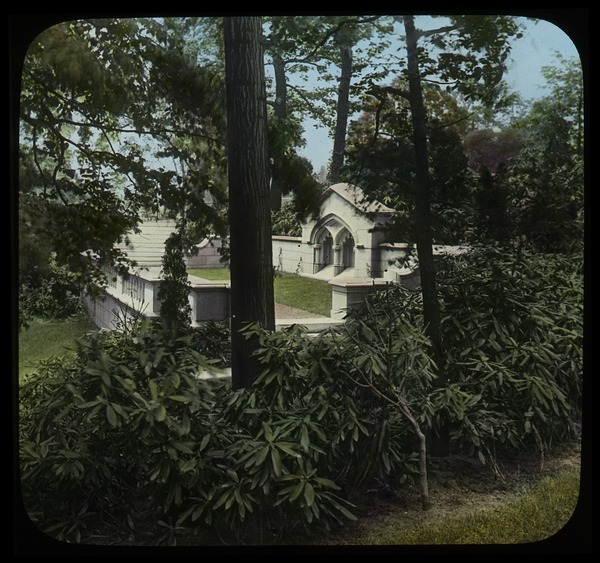 Beckley (rhododendrons bordering stone formal terrace), ca. 1925