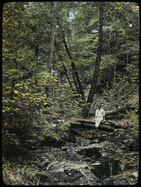 Holland Glen (young man sitting on log over woodland stream), ca. 1925