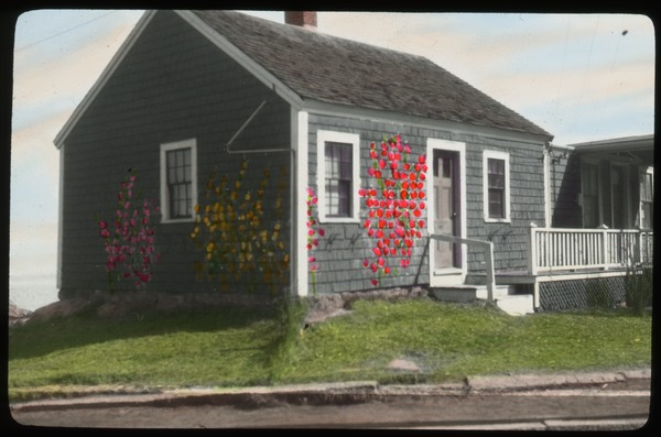 Rockport, foundation plantings painted on house, undated