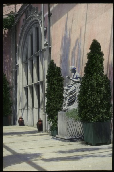 Biltmore Terrace (statue, large potted arborvitae, urns, formal structure), 1926