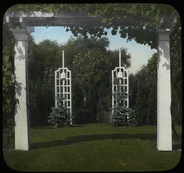 Garden with pergola and trellises, undated