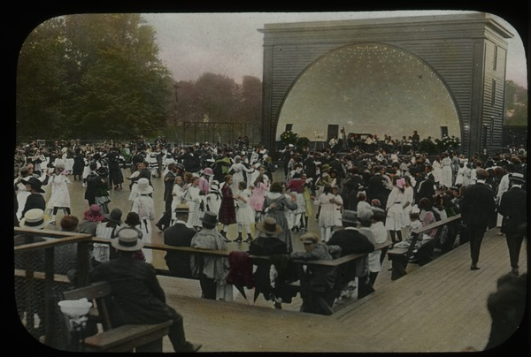 Bandshell and crowded outdoor dance floor, ca. 1920