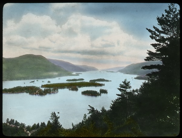 Lake George (lake surrounded by small mountains with lots of little island in lake), undated