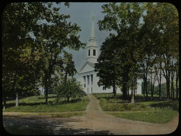 Village Church, Brimfield, Massachusetts (white classic New England church on dirt road with trees), undated