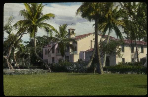 Palm Beach (Large stucco residence among palm trees), undated