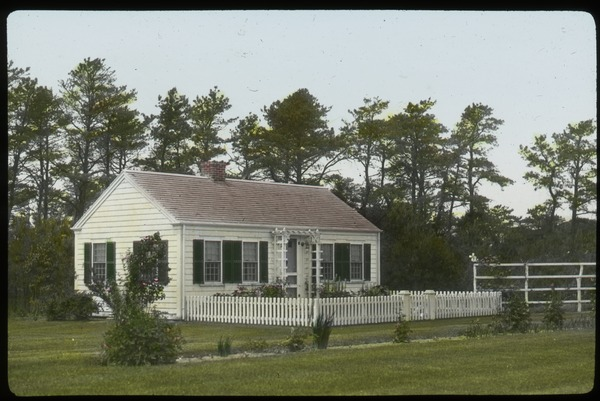 Cape Cod (single story cape cod house with picket fence), undated