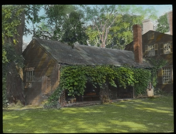 Old Deerfield (colonial house and shed in Old Deerfield, undated