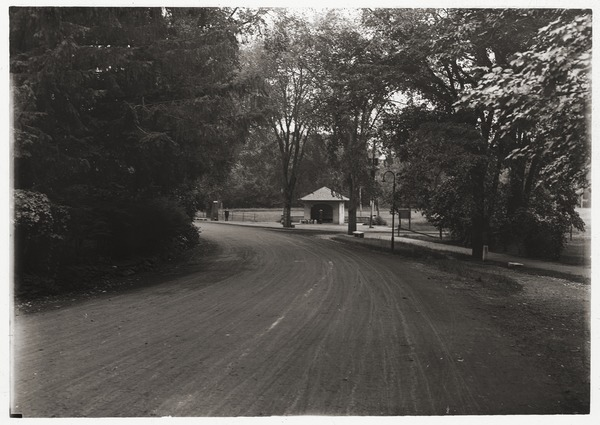 Trolley station by a roadside, ca. 1920