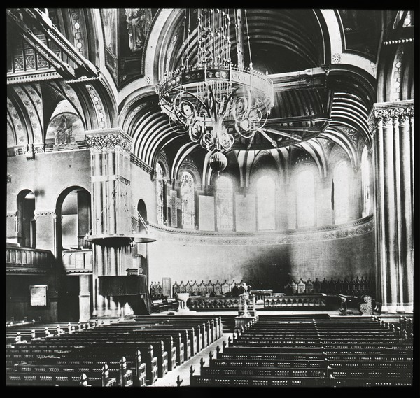Interior of unidentified church, looking toward altar, ca. 1920