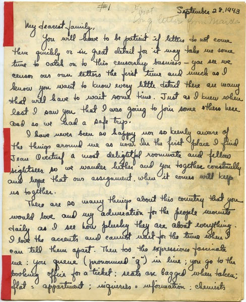 Letter from Maida Riggs to Riggs family, September 28, 1943