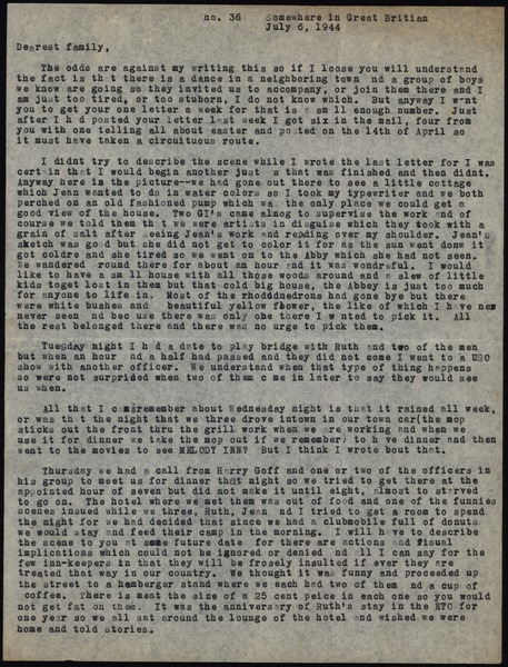 Letter from Maida Riggs to Riggs family, July 6, 1944