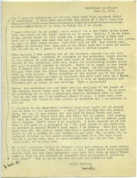 Letter from Maida Riggs to Riggs family, December 3, 1944
