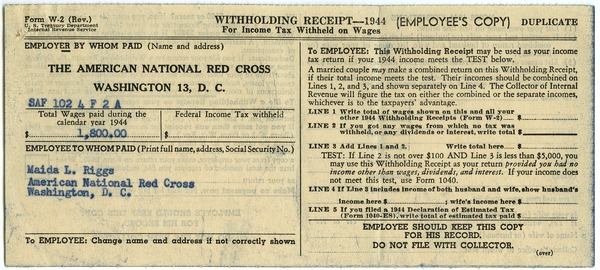 Withholding receipt for income tax (W-2), 1944