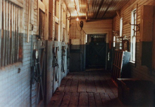 Queen Anne Horse Barn interior: horse stalls, ca. April 1994