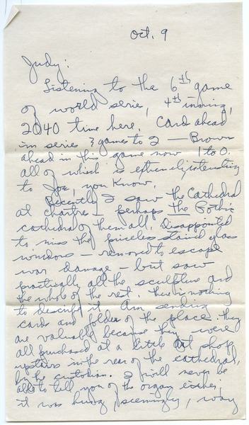 Letter from Joseph Langland to Judith G. Wood Langland, ca. October 9, 1944