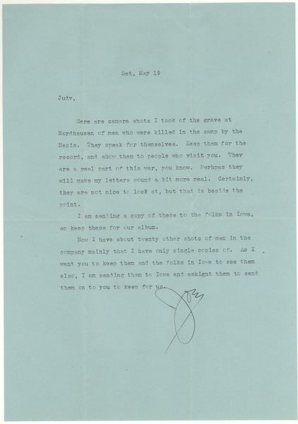 Letter from Joseph Langland to Judith G. Wood Langland, May 19, 1945