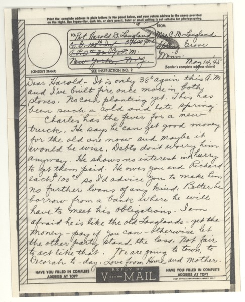 V-mail from Clara M. Langland to Harold D. Langland, May 14, 1945