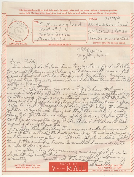 V-mail from Harold D. Langland to Charles Langland, May 22, 1945