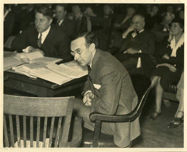 Howard B. Gill and daughter Joan at State House hearings, March 7, 1934