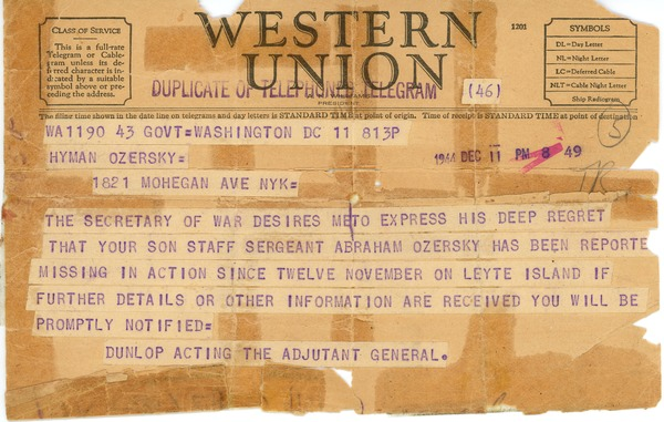 Telegram from Robert H. Dunlop to Hyman Ozersky, December 11, 1944