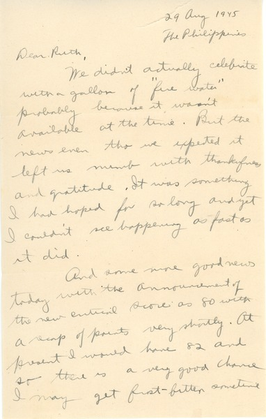 Letter from Abraham Ozersky to Ruth Newman, August 29, 1945