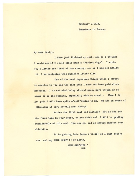Letter from Frank F. Newth to Letitia Crane, February 9, 1918