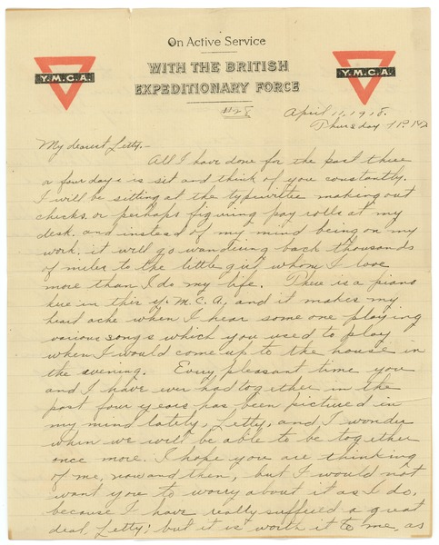 Letter from Frank F. Newth to Letitia Crane, April 11, 1918