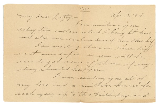 Letter from Frank F. Newth to Letitia Crane, April 17, 1918