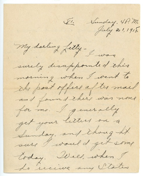 Letter from Frank F. Newth to Letitia Crane, July 21, 1918