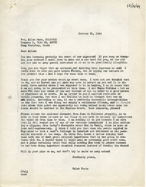 Letter from Caleb Foote to Allen H. Barr, October 31, 1944