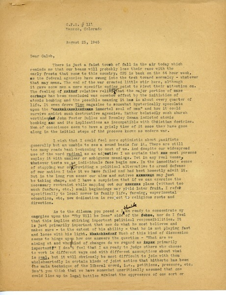 Letter from Russ Freeman to Caleb Foote, August 25, 1945