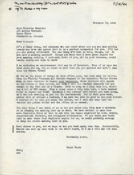 Letter from Caleb Foote to Patricia Scarlett, November 15, 1944