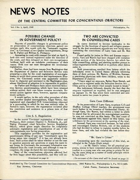 News Notes of the Central Committee for Conscientious Objectors, March 1949