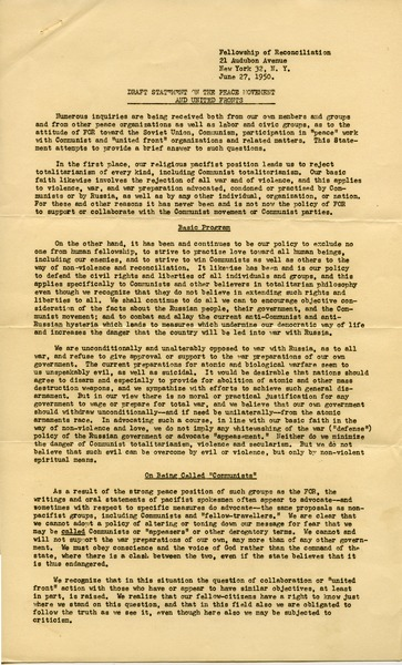 Draft statement on the peace movement and United Fronts, June 27, 1950