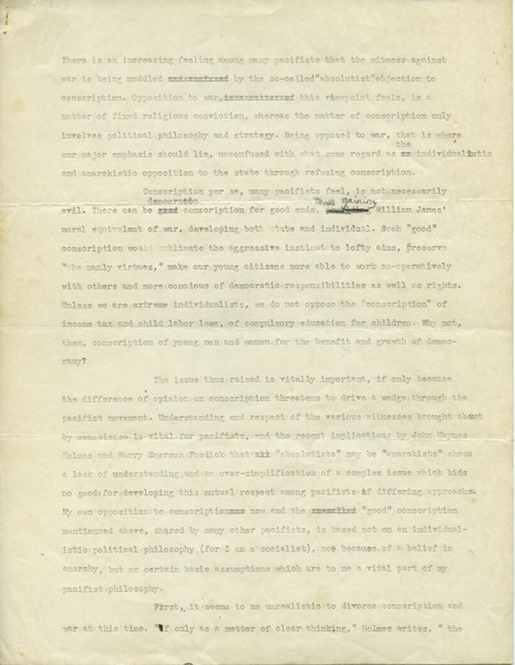 Absolutist objector, pacifism, and the witness against war, ca. 1944