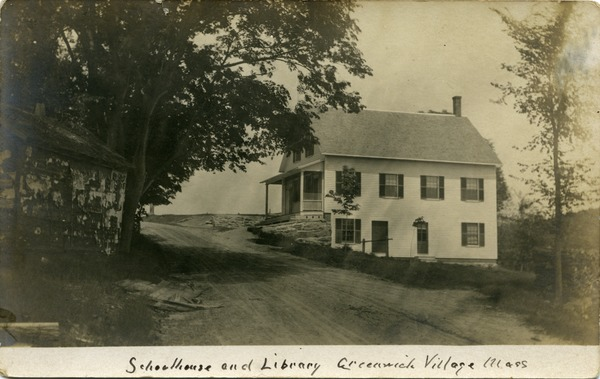 Schoolhouse and library, Greenwich Village, Mass., ca. 1908