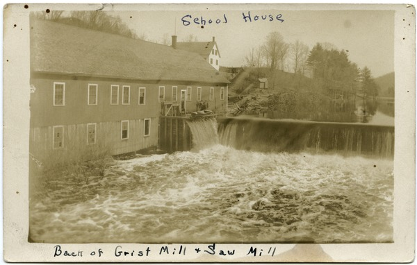 Back of grist mill and saw mill, school house, ca. 1910