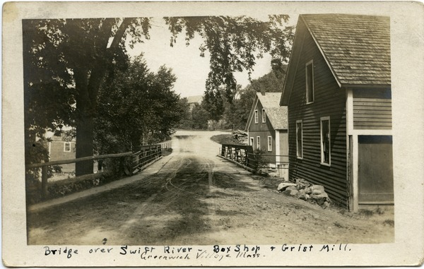 Bridge over Swift River: Box shop and grist mill, Greenwich Village, Mass., ca. 1908
