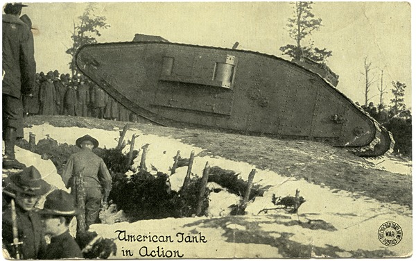 American tank in action, ca. 1918