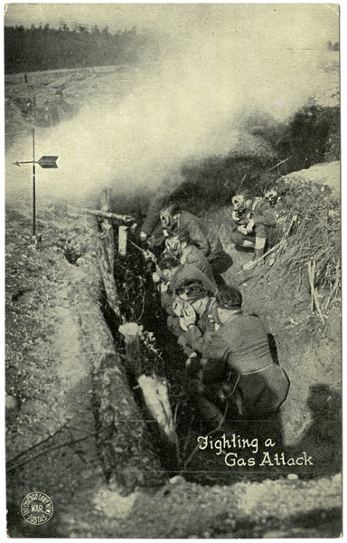 Fighting a gas attack, ca. 1918