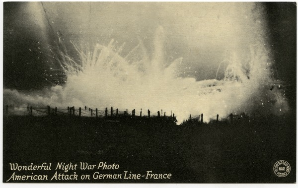 Wonderful night war photo: American attack on German line, France, ca. 1918