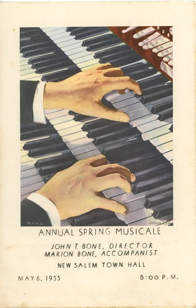 Program for the annual spring musical by the combined glee clubs at New Salem Academy, May 6, 1955