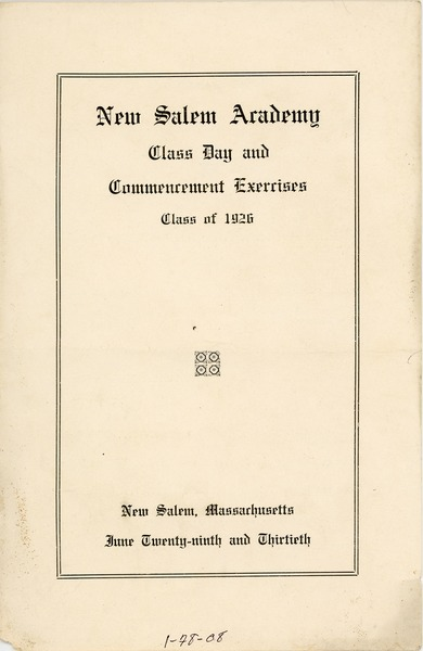 Program for the 1926 New Salem Academy class day and commencement exercises, June 29, 1926