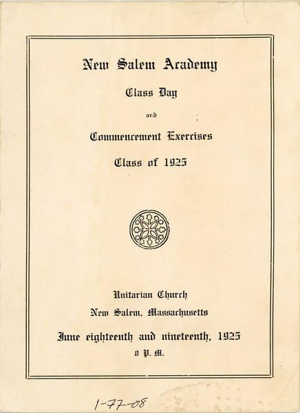 Program for the 1925 New Salem Academy class day and commencement exercises, June 18, 1925