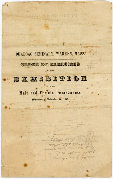 Quaboag Seminary, Warren, Mass.: Order of exercises at the exhibition of the Male and Female Departments, November 1842