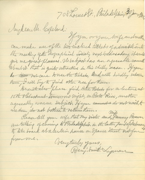 Letter from Benjamin Smith Lyman to Mr. Copeland, January 30, 1902