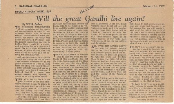 Will the great Gandhi live again [fragment], February 11, 1957