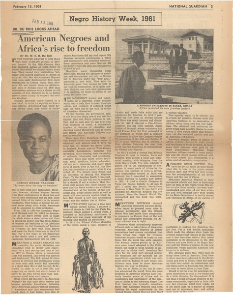 American Negroes and Africa's rise to freedom, February 13, 1961