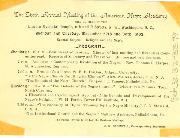The  Sixth Annual Meeting of the American Negro Academy, ca. 1902