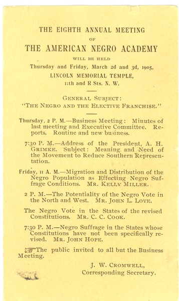 The  Eighth Annual Meeting of the American Negro Academy, ca. 1905